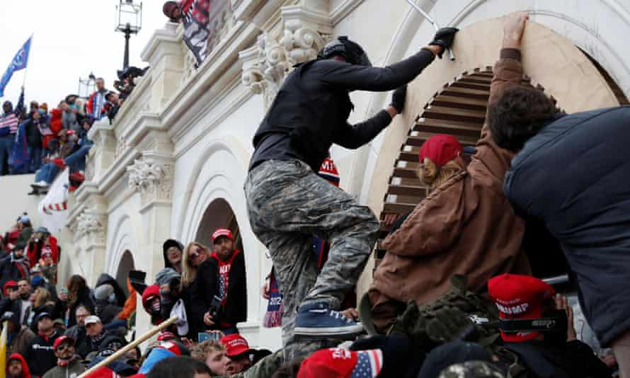 Supporters of Donald Trump storm the Capitol building, 6 January 2021