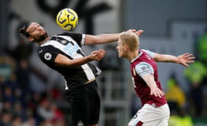 Newcastle United's Andy Carroll in action against Burnley, who won the match 1-0 courtesy of Chris Wood's goal.