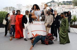 The cast of the the film Port Authority pose a t the Cannes film festival