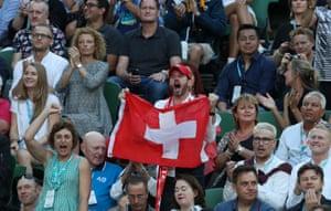 Swiss fan celebrates as Roger Federer plays Rafael Nadal