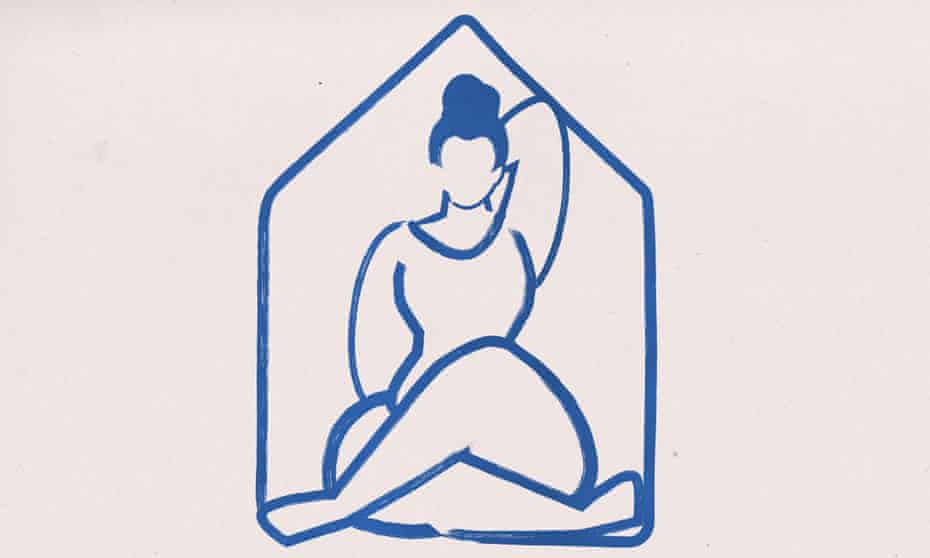 sketch of a figure doing a yoga pose inside a small house