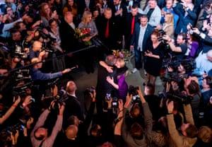 President Andrej Kiska congratulates Zuzana Caputova