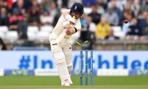 Rory Burns of England is bowled by Mohammed Shami of India.