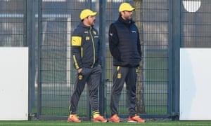 David Wagner and Jürgen Klopp at Borussia Dortmund's training centre in 2014.