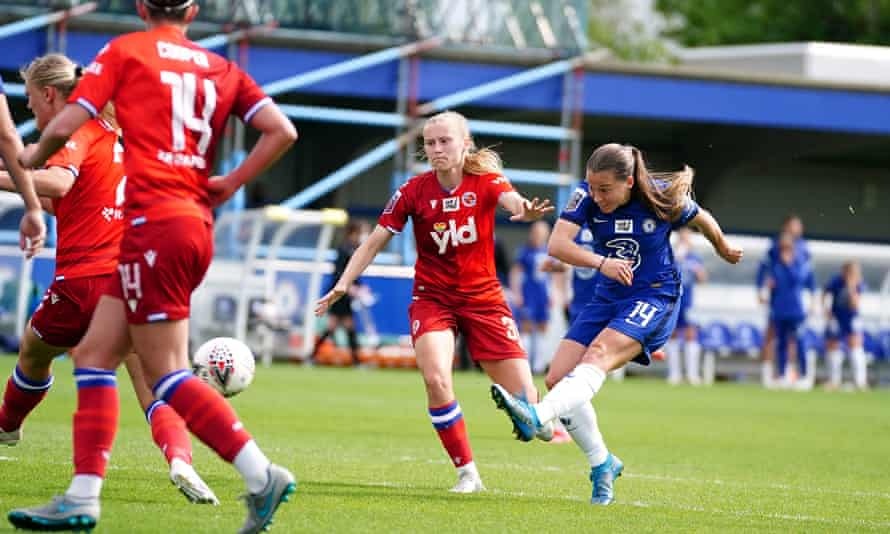 Fran Kirby scores Chelsea's third goal as Emma Hayes's side were crowned Women's Super League champions with a 5-0 win against Reading at Kingsmeadow.