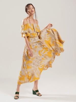 model wears  top, £25.99, and skirt, £49.99, both zara.com. Wedges, £149, whistles.com.