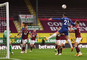 Chelsea's Ben Chilwell attempts to heads the ball.
