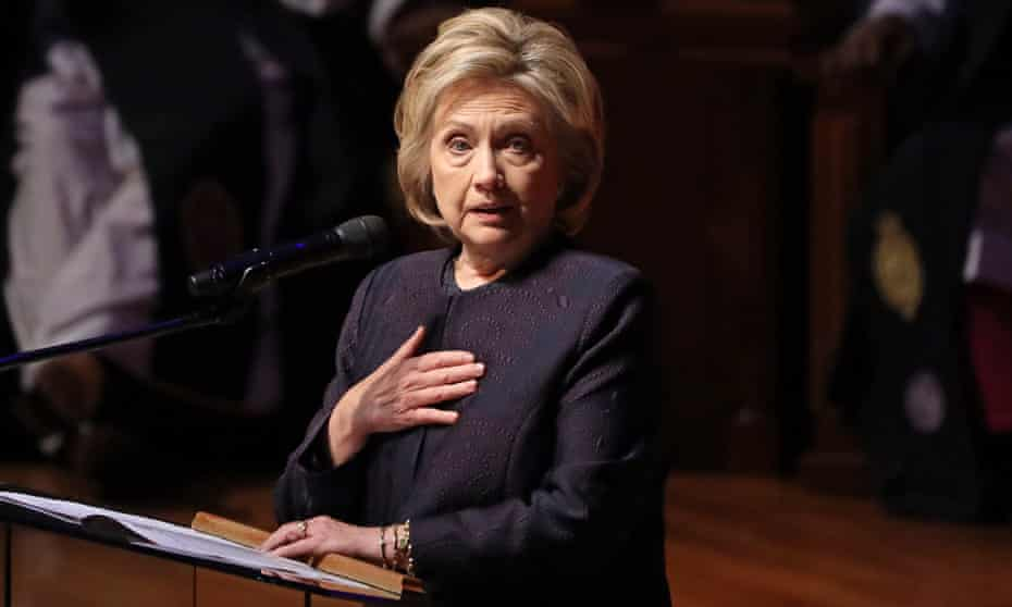 Hillary Clinton speaks at the funeral service for Elijah Cummings, in Baltimore late last month.