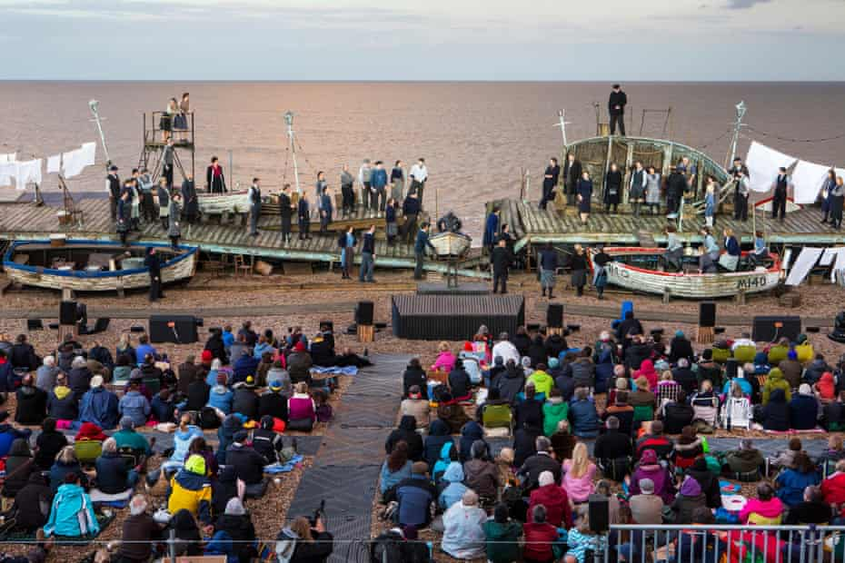 The future? …Britten's opera Peter Grimes staged on the beach at Aldeburgh, Suffolk.