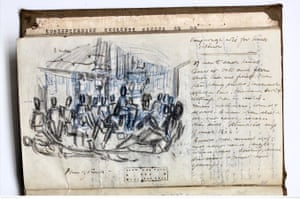 Bill kept notes and sketches throughout his captivity.