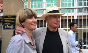 Peter Weir and Alexandra Kennett, partner of James Ricketson's son, after Weir testified in James Ricketson's trial.