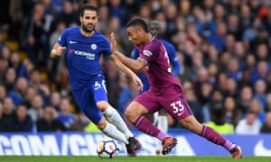 Gabriel Jesus speeds away from Chelsea's Cesc Fàbregas during Manchester City's 1-0 win at Stamford Bridge.
