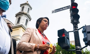 Mayor Muriel Bowser speaks after announcing that she is renaming a section of 16th street 'Black Lives Matter Plaza' in Washington DC on Friday.