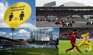 Clockwise from top left: a social distancing sign in London, the 2019 British Grand Prix, Liverpool's Mohamed Salah in Champions League action and a general view of play at the Oval