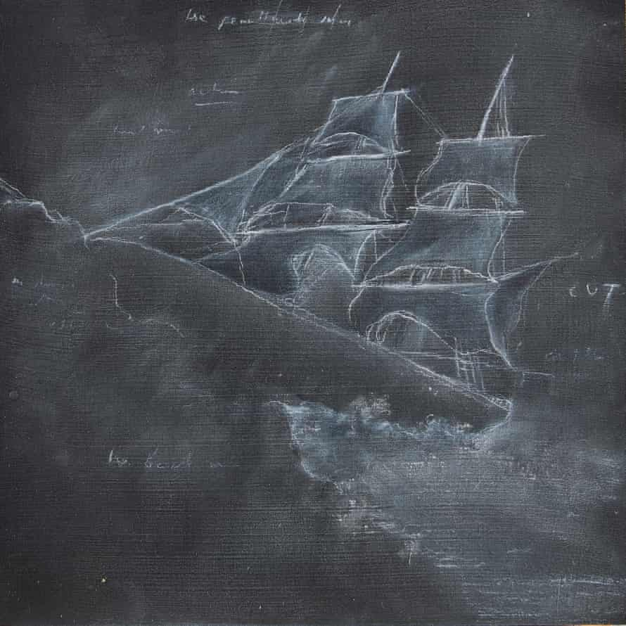 A pale image of a sailing ship riding high waves, drawn with chalk on a blackboard