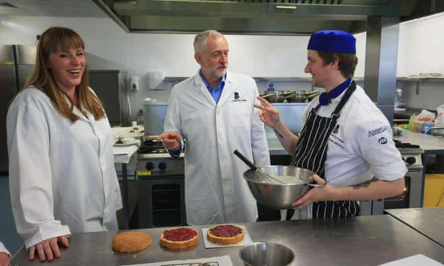 Angela Rayner, Labour's shadow education secretary, left, and Jeremy Corbyn on a visit to Leeds City College during the election campaign