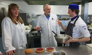 Shadow education secretary Angela Rayner, left, at Leeds City college, in May, with Jeremy Corbyn, centre.
