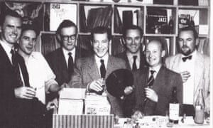 John Jack, far right, at Dobell's Jazz Record Shop, in Charing Cross Road, London. Its owner was Doug Dobell, seen here holding an LP