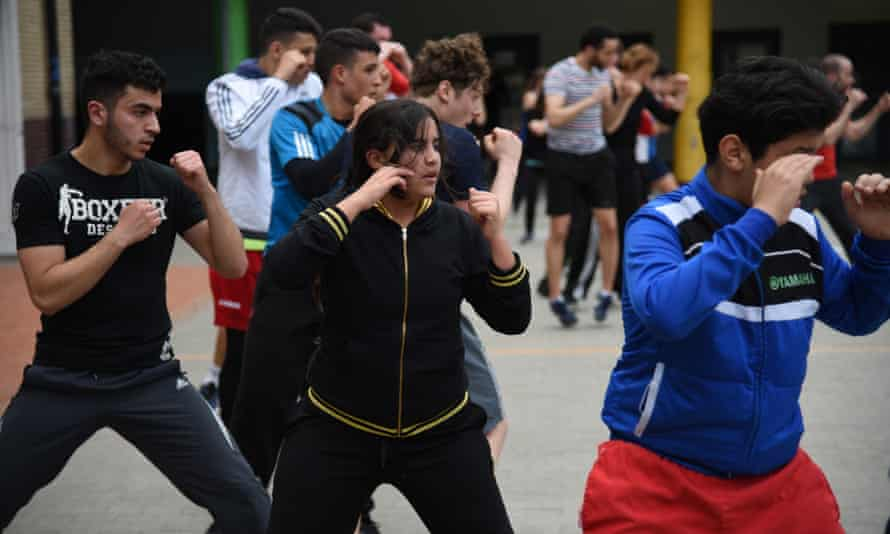 Young people training in Brussels Boxing Academy.