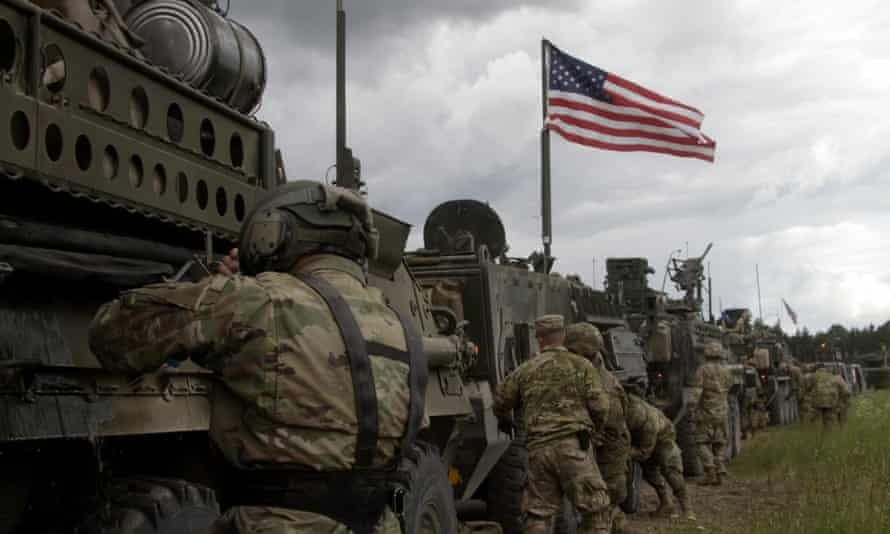 US soldiers of the 2nd Cavalry Regiment of the US Army on deployment in Latvia as part of NATO exercises in the Baltic states.