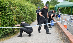 Police conduct searches of Queen Elizabeth Gardens in Salisbury.