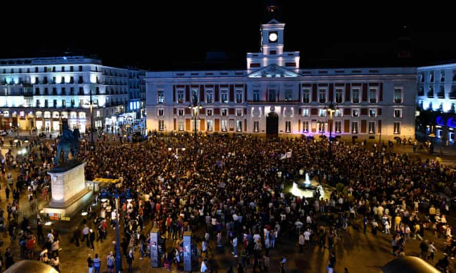 Protesters gather at Puerta del Sol square, in Madrid, Spain