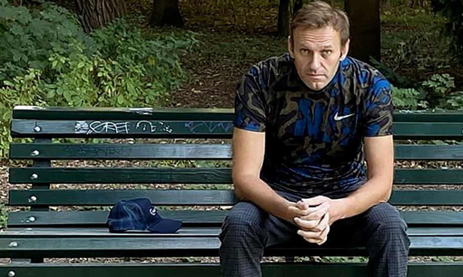 A picture posted on Alexei Navalny's Instagram account on Wednesday shows him sitting on a bench in Berlin