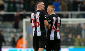 Sean and Matty Longstaff celebrate after the Premier League victory against Manchester United at S James' Park in October.