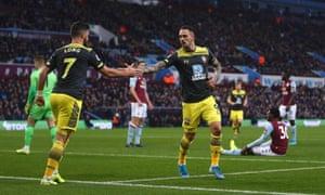 Danny Ings celebrates scoring the opening goal against Aston Villa.
