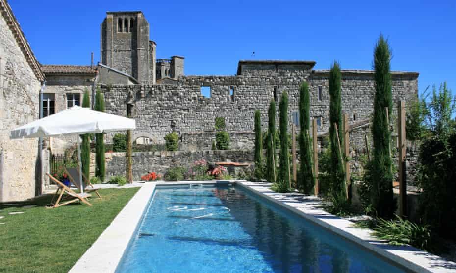 Swimming pool at La Maison d'Aux hotel, La Romieu, Gers, France