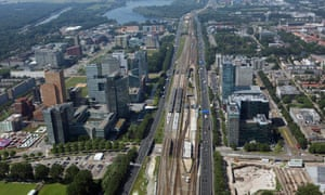 Aerial view of the Zuidas business district, Amsterdam