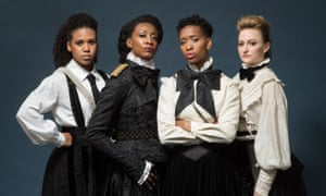 Leading roles … from left, Witney White as Christabel Pankhurst, Beverley Knight as Emmeline, Genesis Lynea as Sylvia, and Carly Bawden as Annie Kenney/Clementine Churchill.