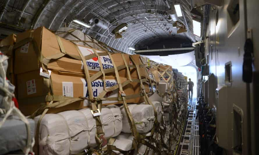 The first Australian aid relief delivery to the devastated island nation of Vanuatu in the aftermath of category five Cyclone Pam in March.