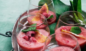 Watermelon and raspberry cooler.