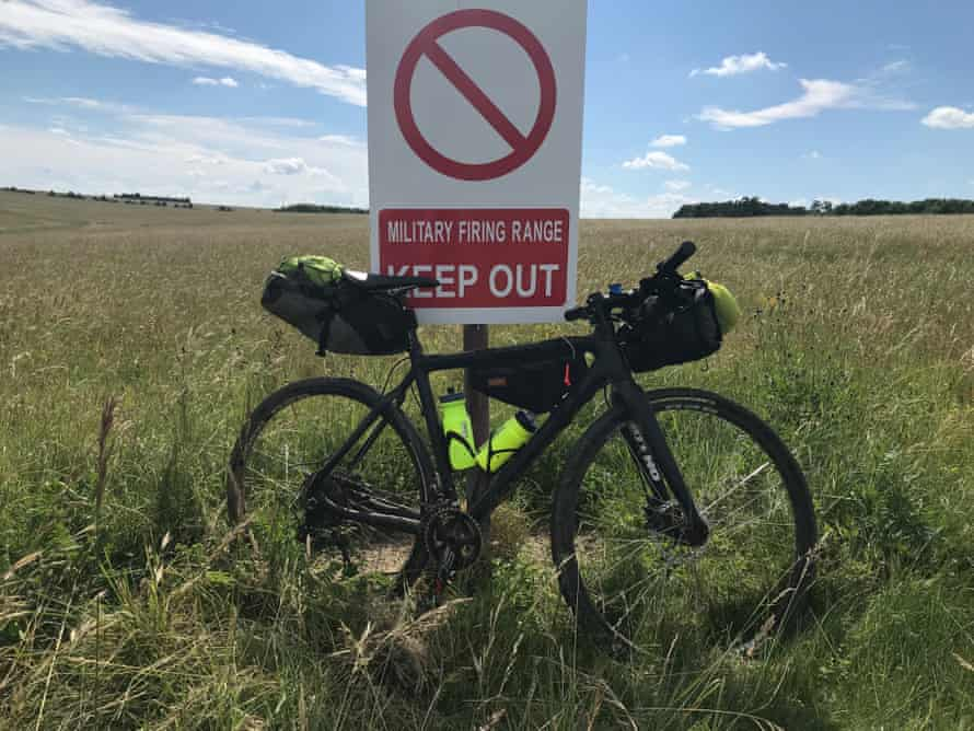 Warning signs along the route on Salisbury Plain.