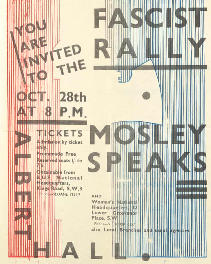'Mosley Speaks' poster advertising a British Union of Fascists rally in 1934.