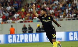 Sergio Aguero makes amends for his two missed penalties by scoring the second goal for Manchester City.