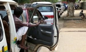 aqueue outside a petrol station in Juba