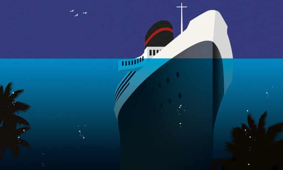 Cruise liner sinking beneath the ocean