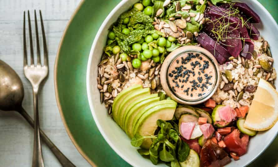 Bowl of salad and grains