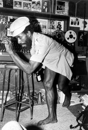 Lee 'Scratch' Perry at work in his Black Ark studio in the 1970s.