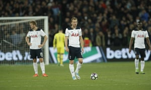 Eric Dier, Harry Kane and Victor Wanyama look dejected after the West Ham goal.