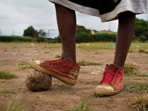 Children are especially at risk from lead poisoning and they ingest dust while playing, on football fields and elsewhere in Chowa township, next to the former mine site.