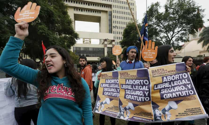 Demonstrators shout slogans outside the Congress in Valparaiso during a rally in support of the bill seeking to relax the country's abortion ban.