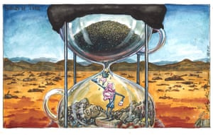 Martin Rowson cartoon 26.8.21: Joe Biden in an hourglass tugs at the blockage stopping the sand pouring in