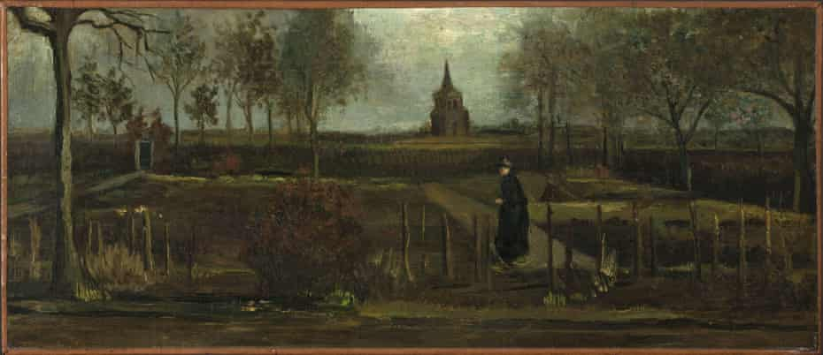 Vincent van Gogh's painting The Parsonage Garden at Nuenen in Spring.