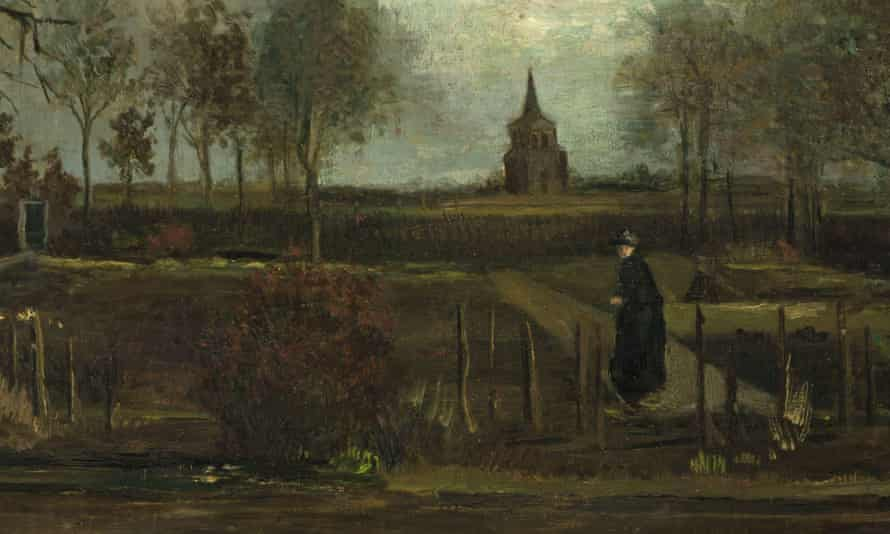 Detail from Vincent van Gogh's painting The Parsonage Garden at Nuenen in Spring, which was stolen from the Singer Museum in Laren, Netherlands.