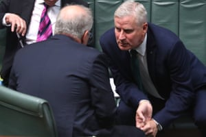 The prime minister Scott Morrison amd deputy Michael McCormack during question time