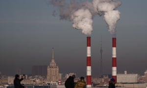 Gas boiler chimneys in Moscow, Russia
