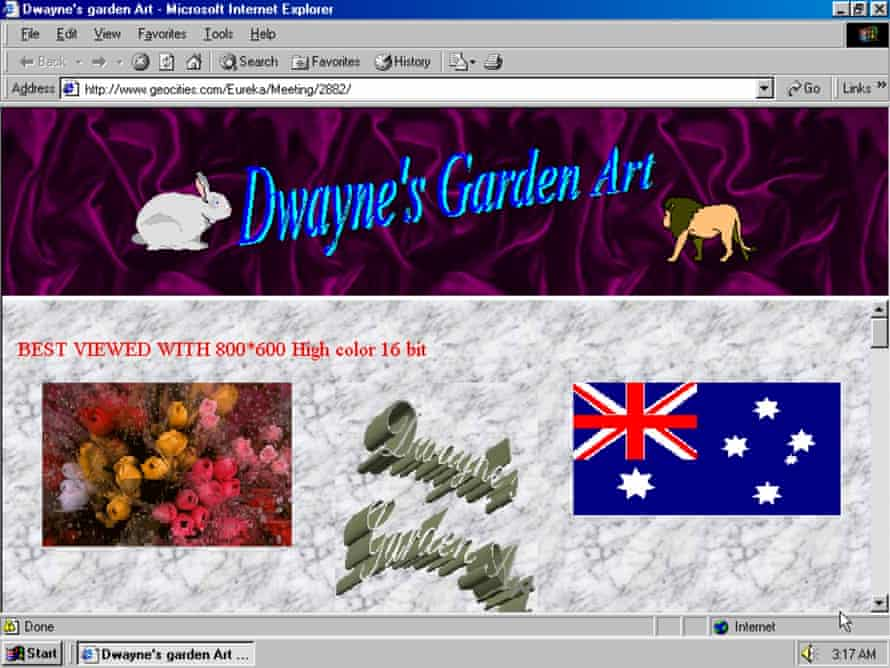 An old webpage as seen on the One Terabyte of Kilobyte Age blog.